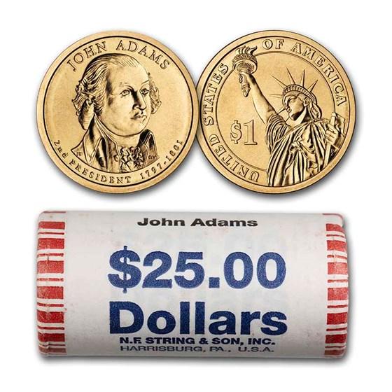 2007-P John Adams 25-Coin Presidential Dollar Roll BU