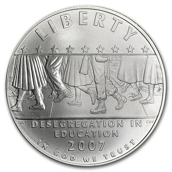 2007-P School Desegregation $1 Silver Commem BU (w/Box & COA)