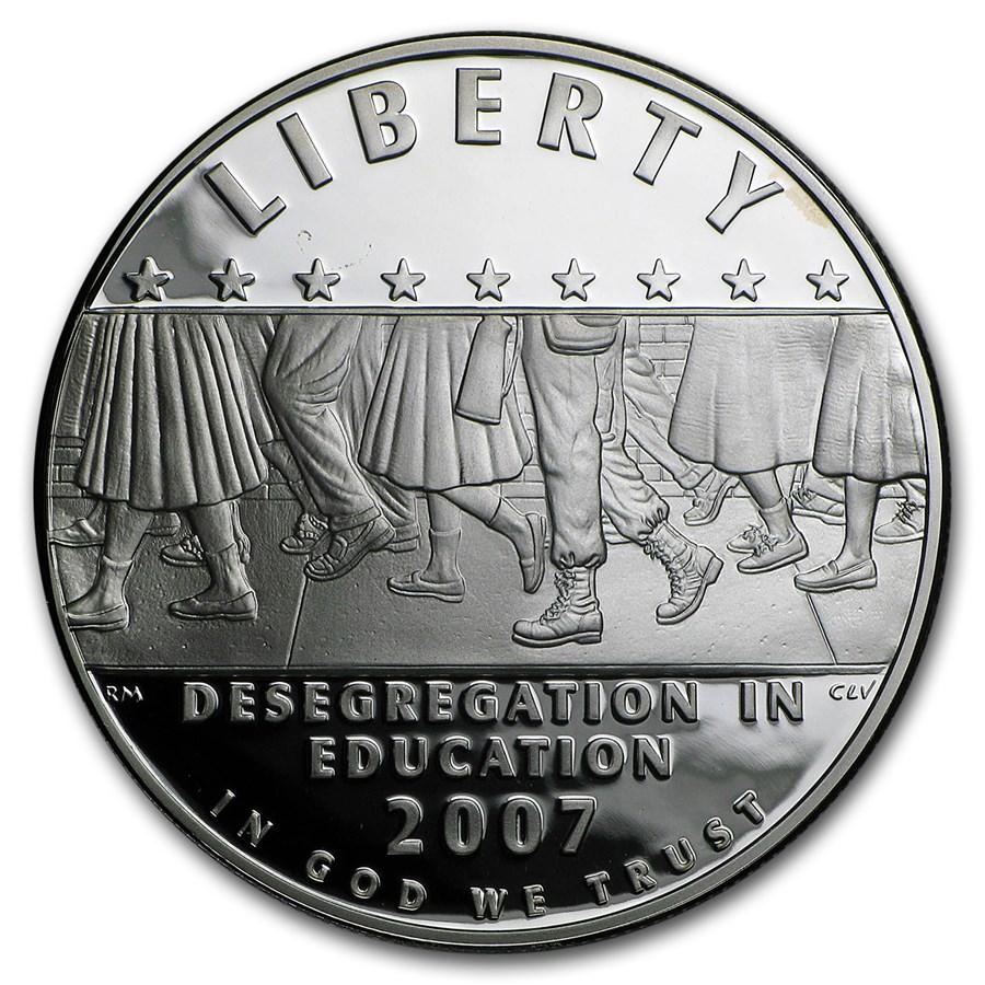 2007-P School Desegregation $1 Silver Commem Proof (w/Box & COA)