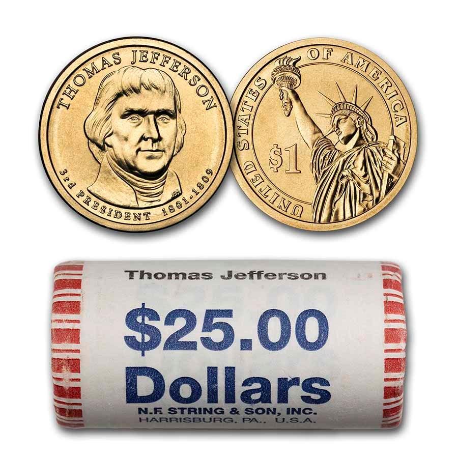 2007-P Thomas Jefferson 25-Coin Presidential Dollar Roll