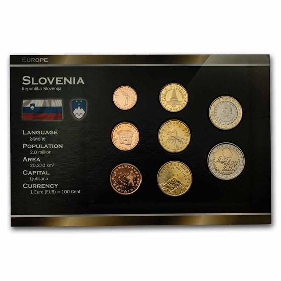2007 Slovenia 1 Cent-2 Euro 8-Coin Euro Set BU