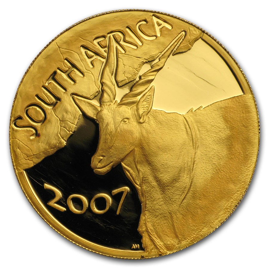 2007 South Africa 1 oz Proof Gold Natura Eland Box and COA