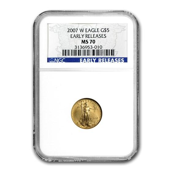 2007-W 1/10 oz Burnished American Gold Eagle MS-70 NGC (ER)