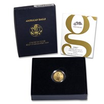 2007-W 1/10 oz Burnished American Gold Eagle (w/Box & COA)