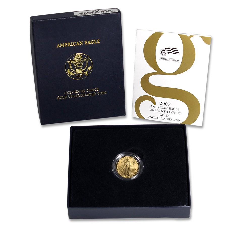 2007-W 1/10 oz Burnished American Gold Eagle (w/Box & COA)