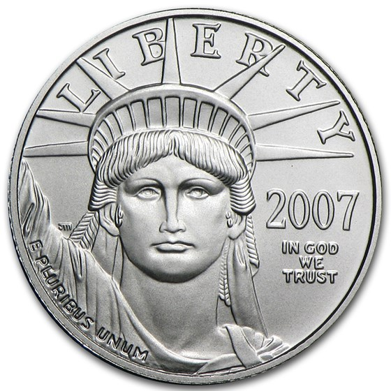 2007-W 1/10 oz Burnished American Platinum Eagle (w/Box & COA)