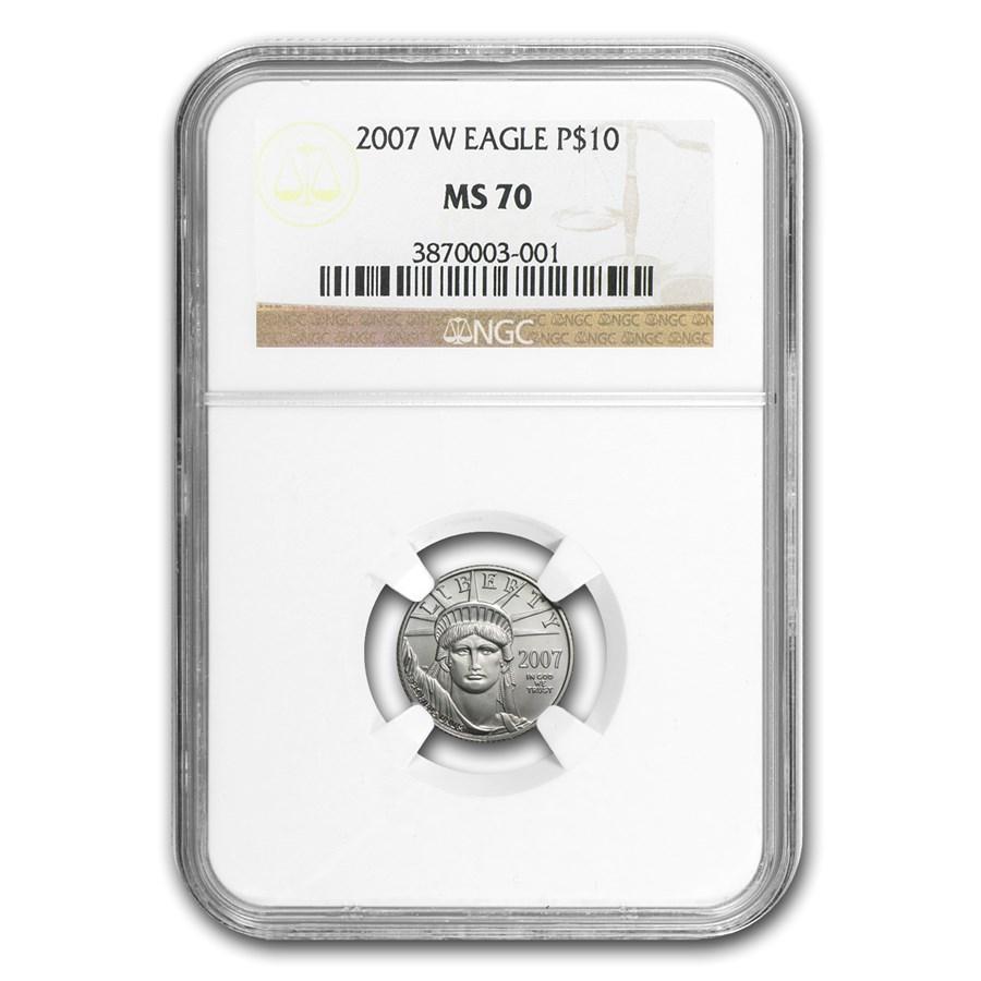 2007-W 1/10 oz Burnished Platinum American Eagle MS-70 NGC