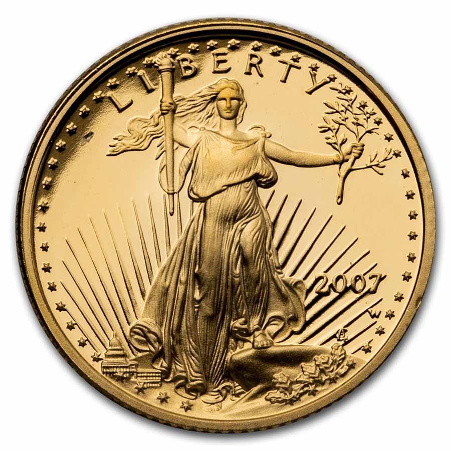 2007-W 1/10 oz Proof American Gold Eagle (w/Box & COA)