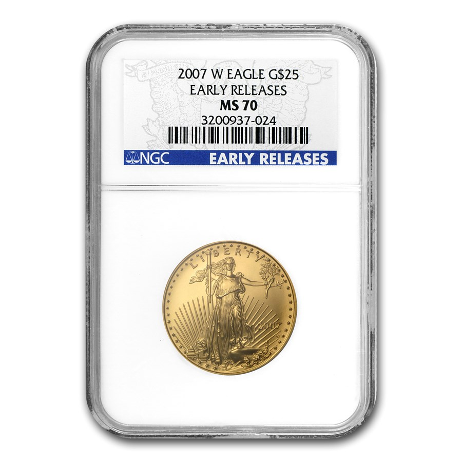 2007-W 1/2 oz Burnished Gold Eagle MS/SP-70 NGC (Early Release)