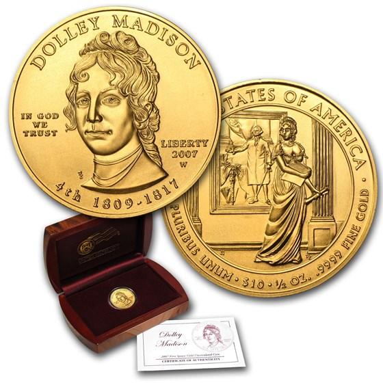2007-W 1/2 oz Gold Dolley Madison BU (w/Box & COA)