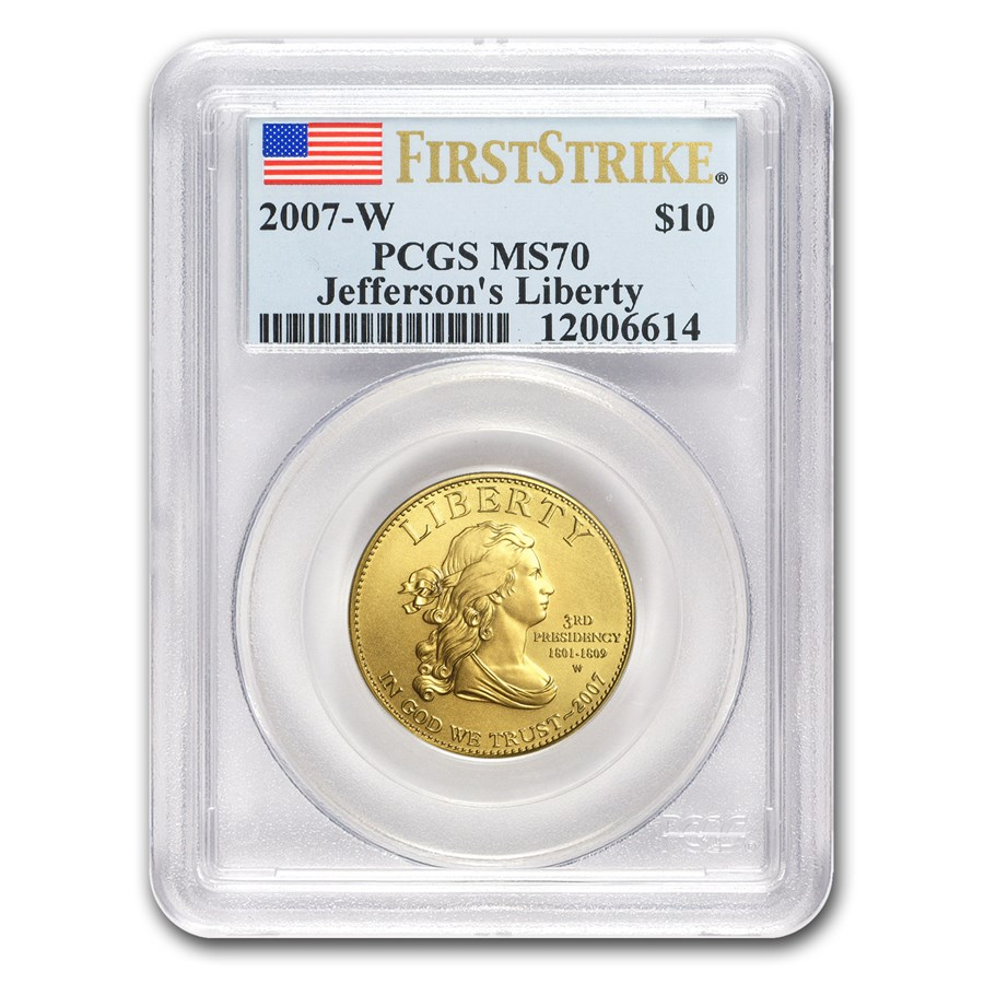 2007-W 1/2 oz Gold Jefferson's Liberty MS-70 PCGS (FirstStrike®)