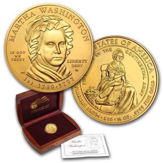 2007-W 1/2 oz Gold Martha Washington BU (w/Box & COA)