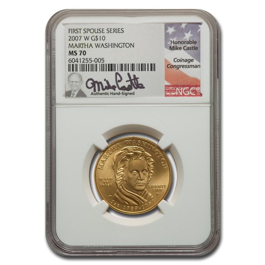 2007-W 1/2 oz Gold Martha Washington MS-70 NGC (Castle)