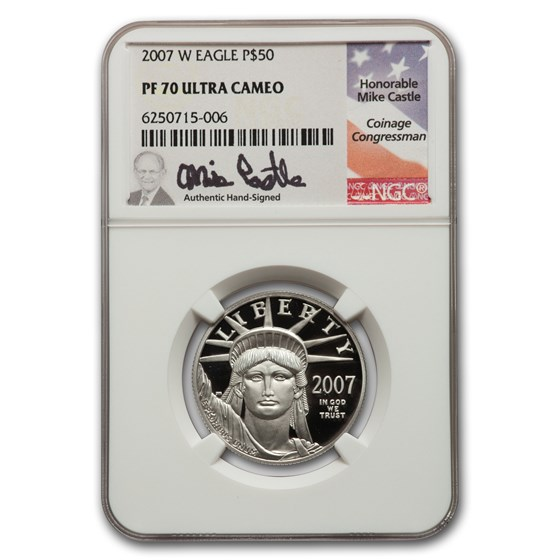 2007-W 1/2 oz Platinum American Eagle PF-70 NGC (Castle)