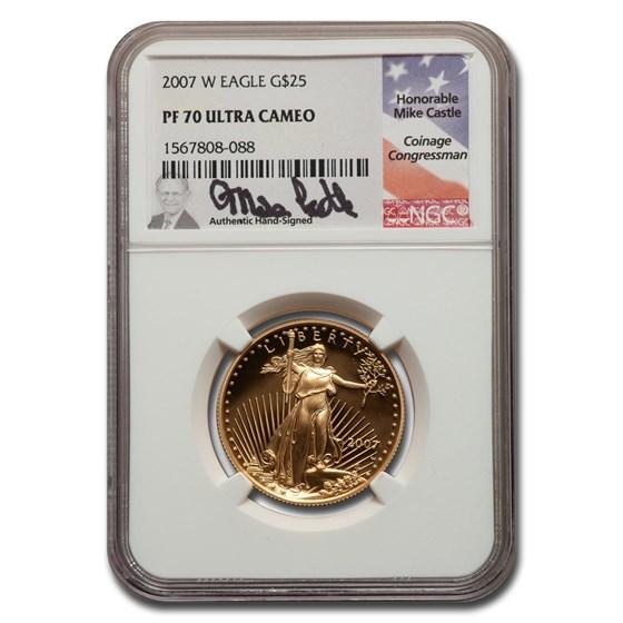 2007-W 1/2 oz Proof American Gold Eagle PF-70 NGC (Castle)