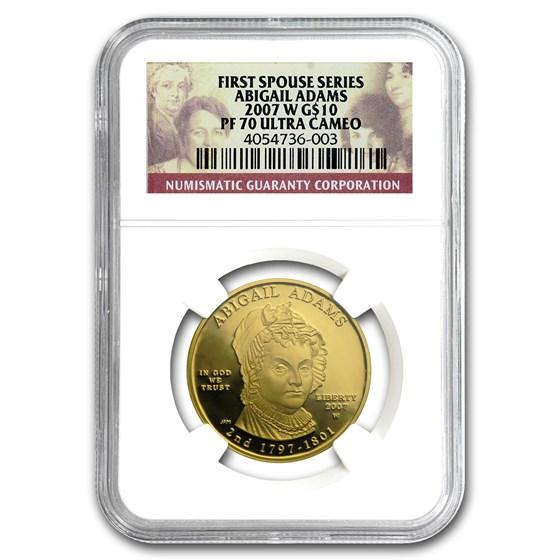 2007-W 1/2 oz Proof Gold Abigail Adams PF-70 NGC