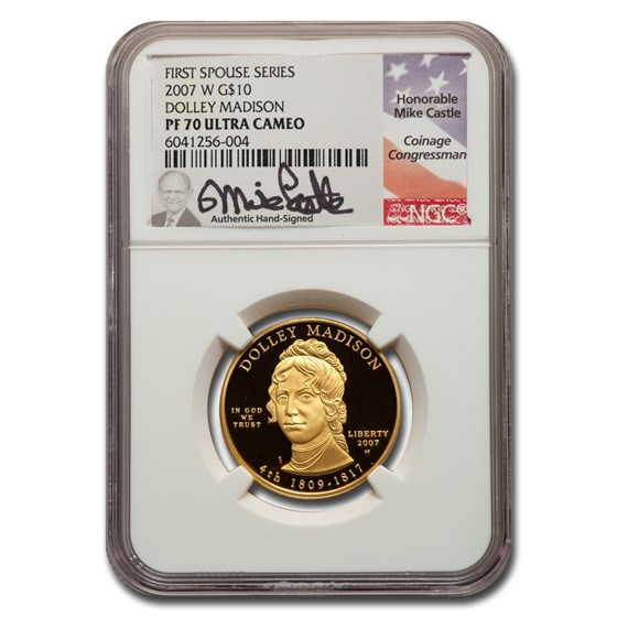 2007-W 1/2 oz Proof Gold Dolley Madison PF-70 NGC (Castle)
