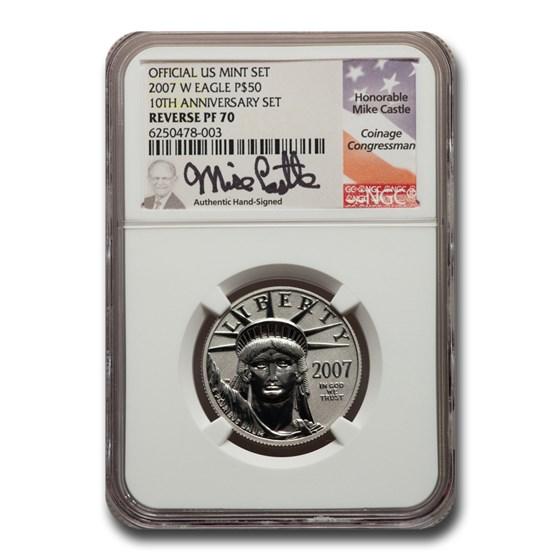 2007-W 1/2 oz Reverse Proof Platinum Eagle PF-70 NGC (Castle)