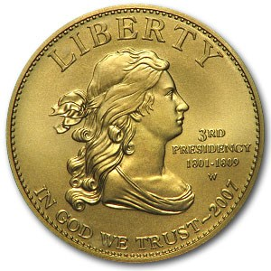 2007-W 1/2 oz Uncirculated Gold Jefferson's Liberty (Cap Only)
