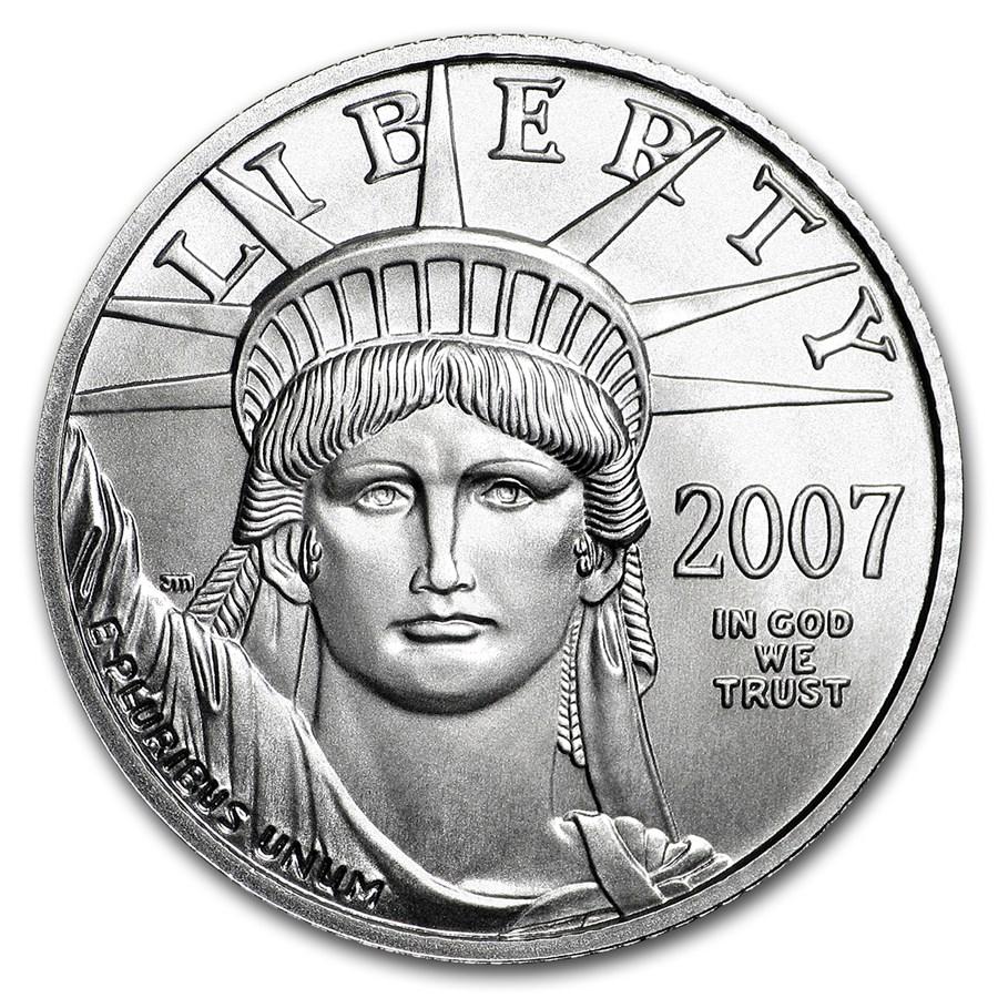 2007-W 1/4 oz Burnished American Platinum Eagle (w/Box & COA)