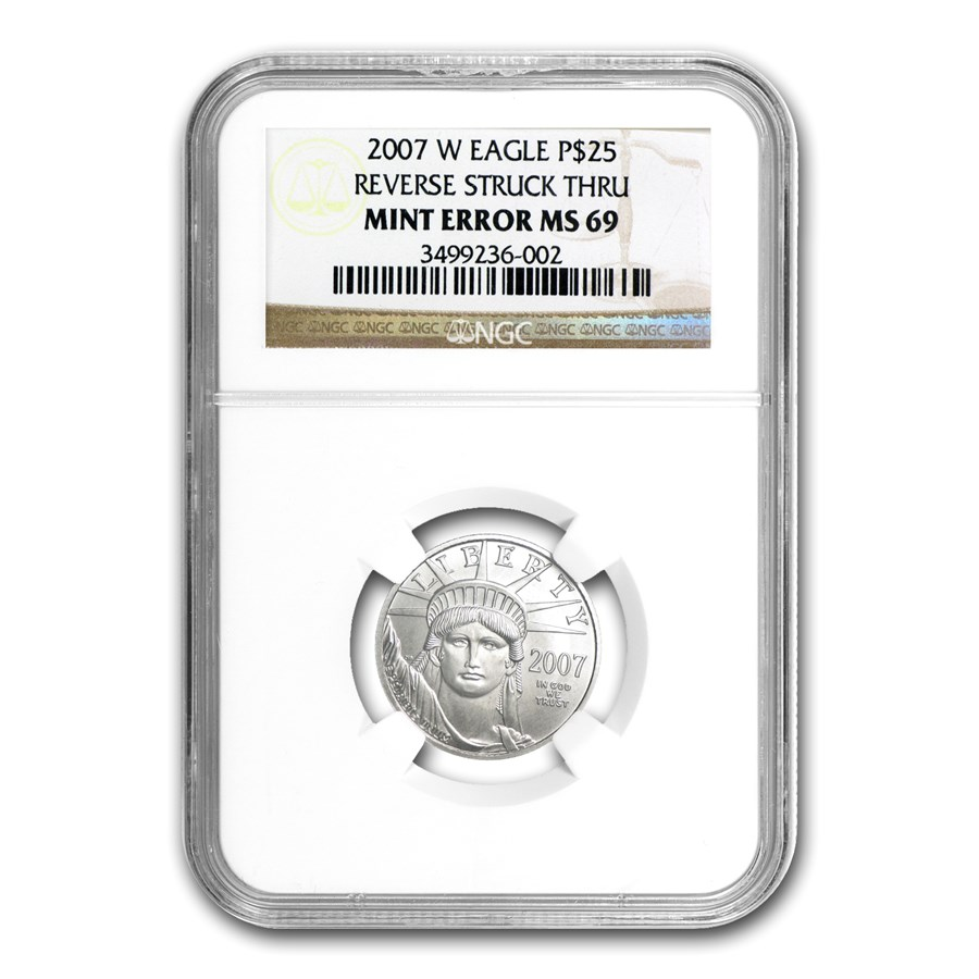 2007-W 1/4 oz Burnished Platinum Eagle MS-69 NGC (Mint Error)