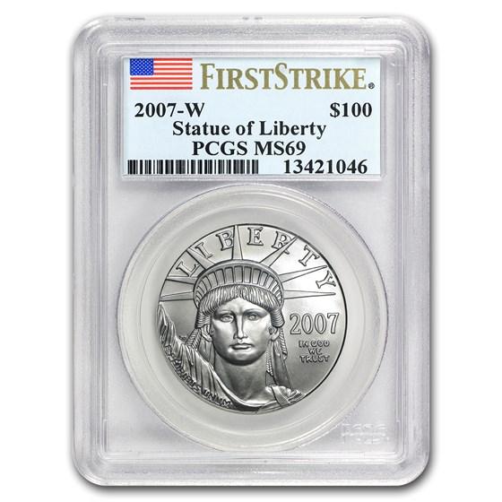 2007-W 1 oz Burnished American Platinum Eagle MS-69 PCGS (FS)