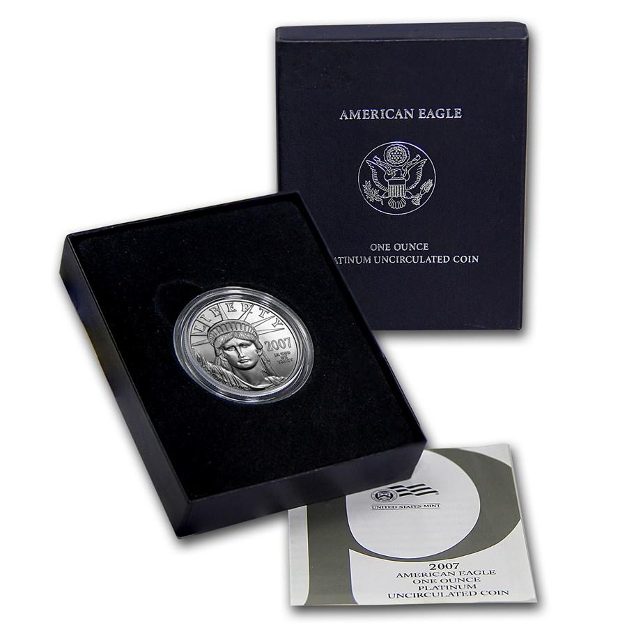 2007-W 1 oz Burnished American Platinum Eagle (w/Box & COA)