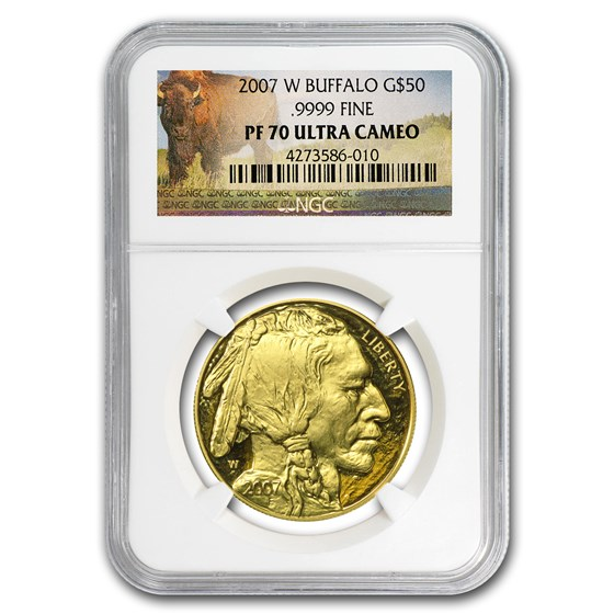2007-W 1 oz Proof Gold Buffalo PF-70 NGC (Buffalo Label)