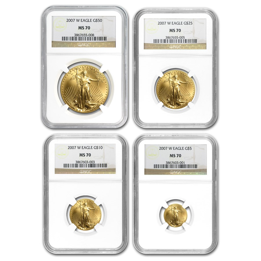 2007-W 4-Coin Burnished American Gold Eagle Set MS-70 NGC