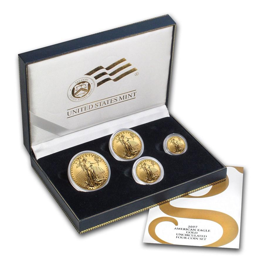 2007-W 4-Coin Burnished American Gold Eagle Set (w/Box & COA)