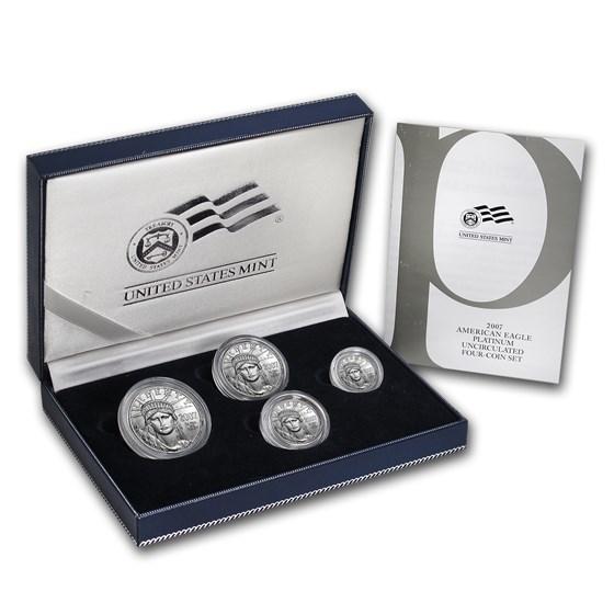 2007-W 4-Coin Burnished Platinum American Eagle Set (w/Box & COA)