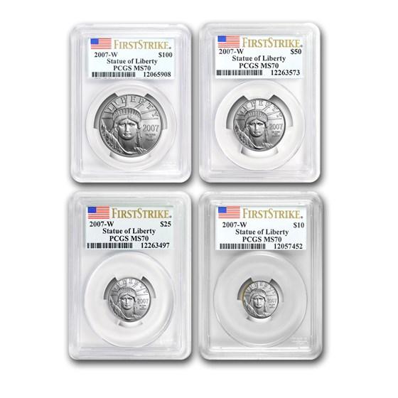 2007-W 4-Coin Burnished Platinum Eagle Set MS-70 PCGS (FS)