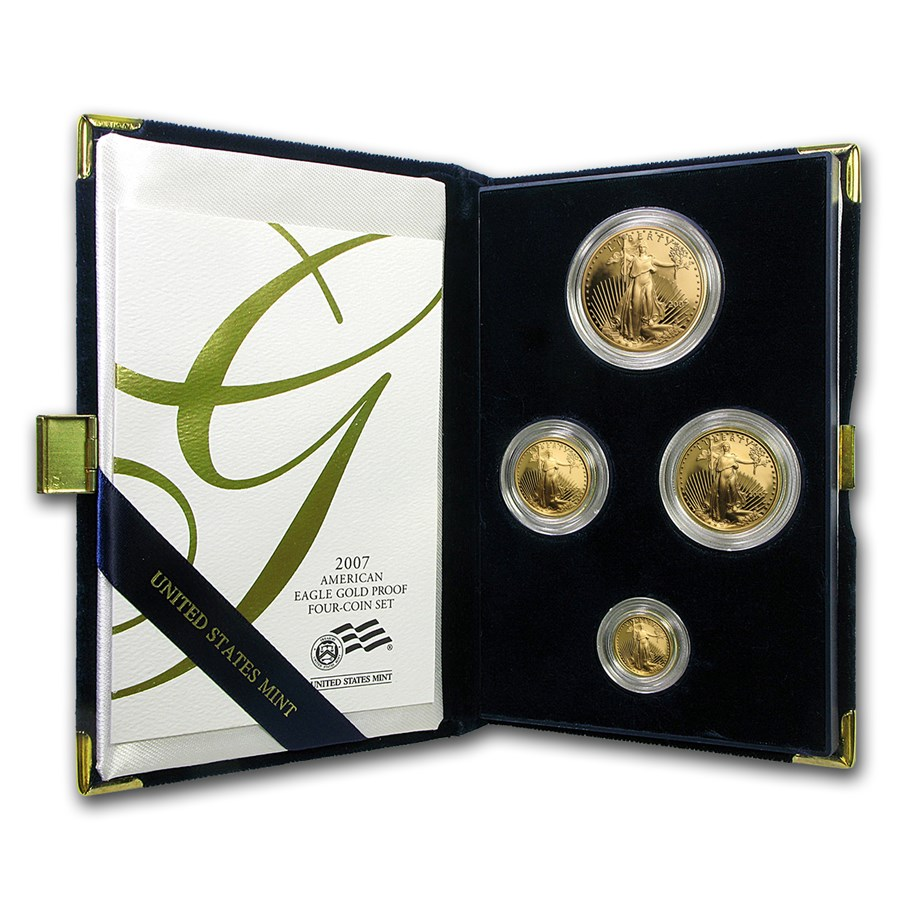 2007-W 4-Coin Proof American Gold Eagle Set (w/Box & COA)