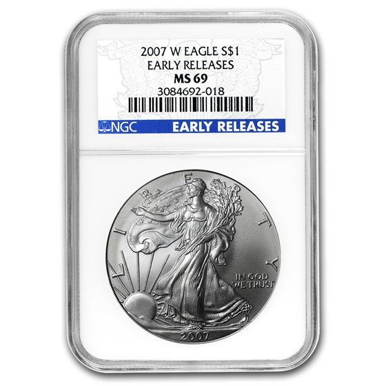 2007-W Burnished American Silver Eagle MS-69 NGC (ER)