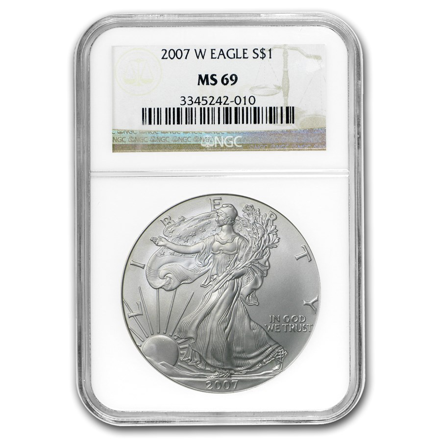 2007-W Burnished American Silver Eagle MS-69 NGC