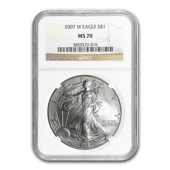 2007-W Burnished American Silver Eagle MS-70 NGC