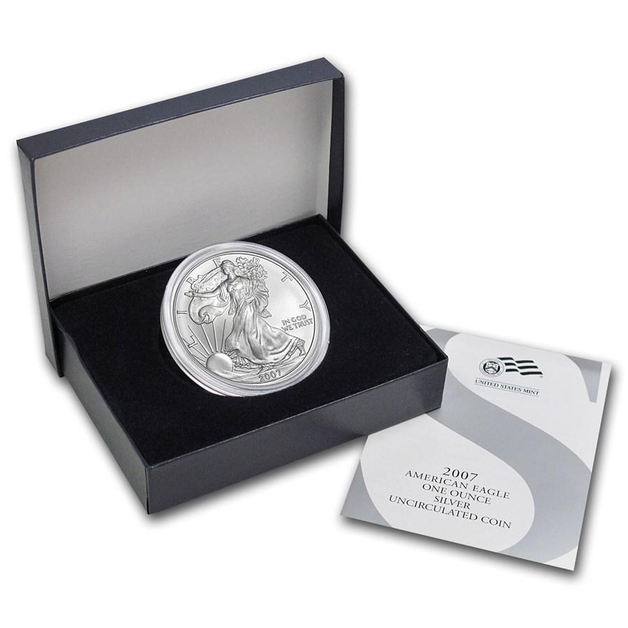 2007-W Burnished American Silver Eagle (w/Box & COA)