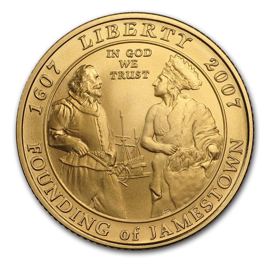 2007-W Gold $5 Commem Jamestown BU (w/Box & COA)