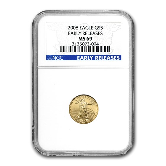 2008 1/10 oz American Gold Eagle MS-69 NGC (Early Releases)