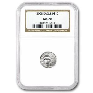 2008 1/10 oz American Platinum Eagle MS-70 NGC