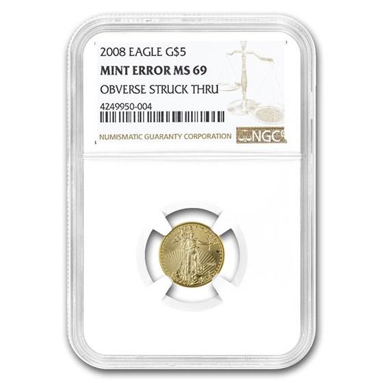2008 1/10 oz Gold American Eagle MS-69 NGC (Obv Mint Error)