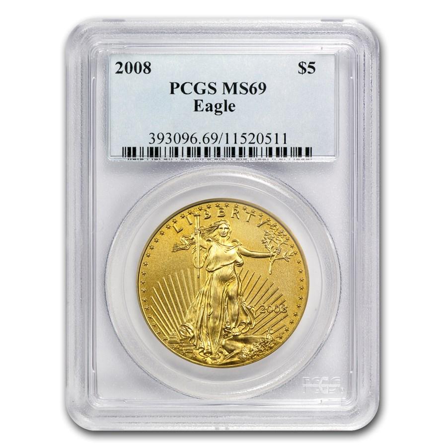 2008 1/10 oz Gold American Eagle MS-69 PCGS