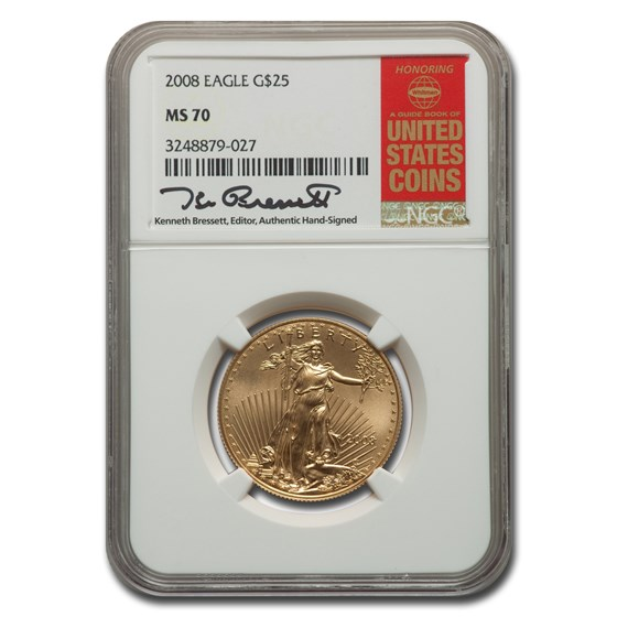 2008 1/2 oz American Gold Eagle MS-70 NGC (Bressett)
