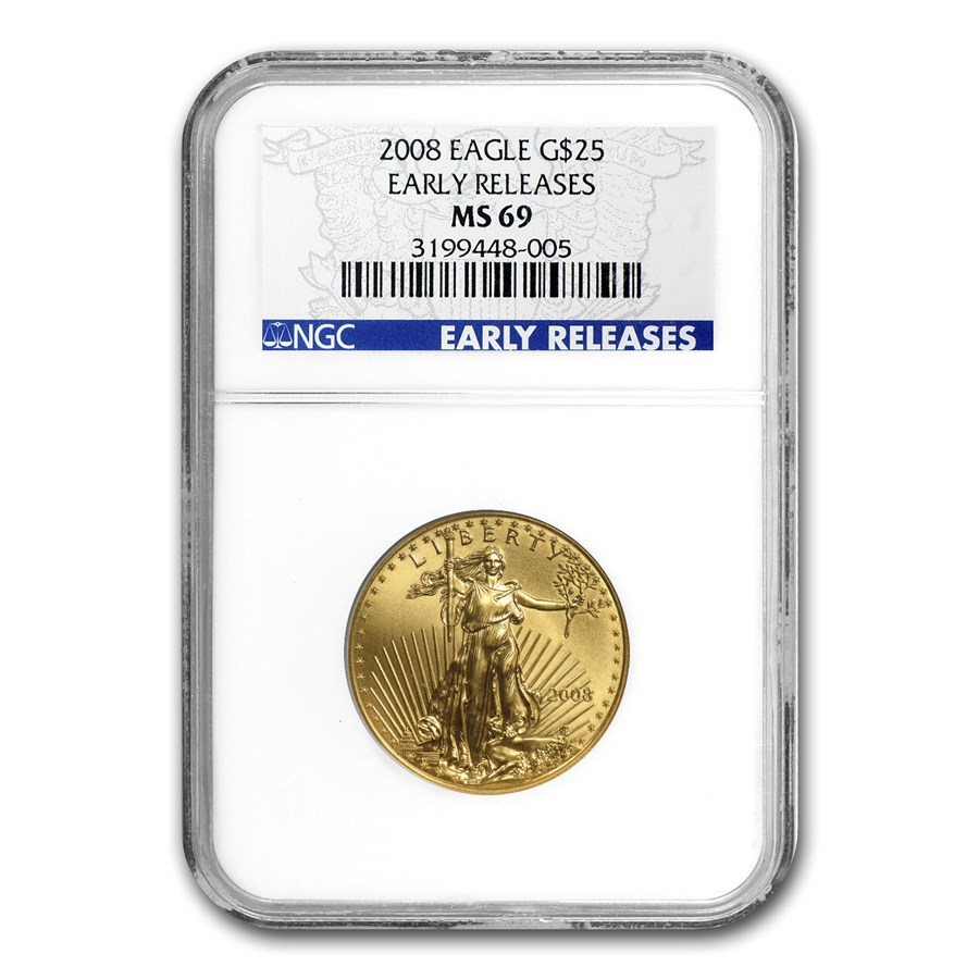 2008 1/2 oz Gold American Eagle MS-69 NGC (Early Releases)