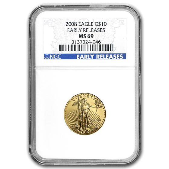 2008 1/4 oz American Gold Eagle MS-69 NGC (Early Releases)