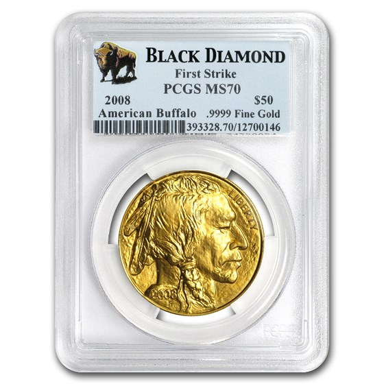 2008 1 oz Gold Buffalo MS-70 PCGS (FS, Black Diamond)