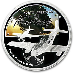 2008 1 oz Proof Silver P-51 Mustang Fighter Planes of WWII