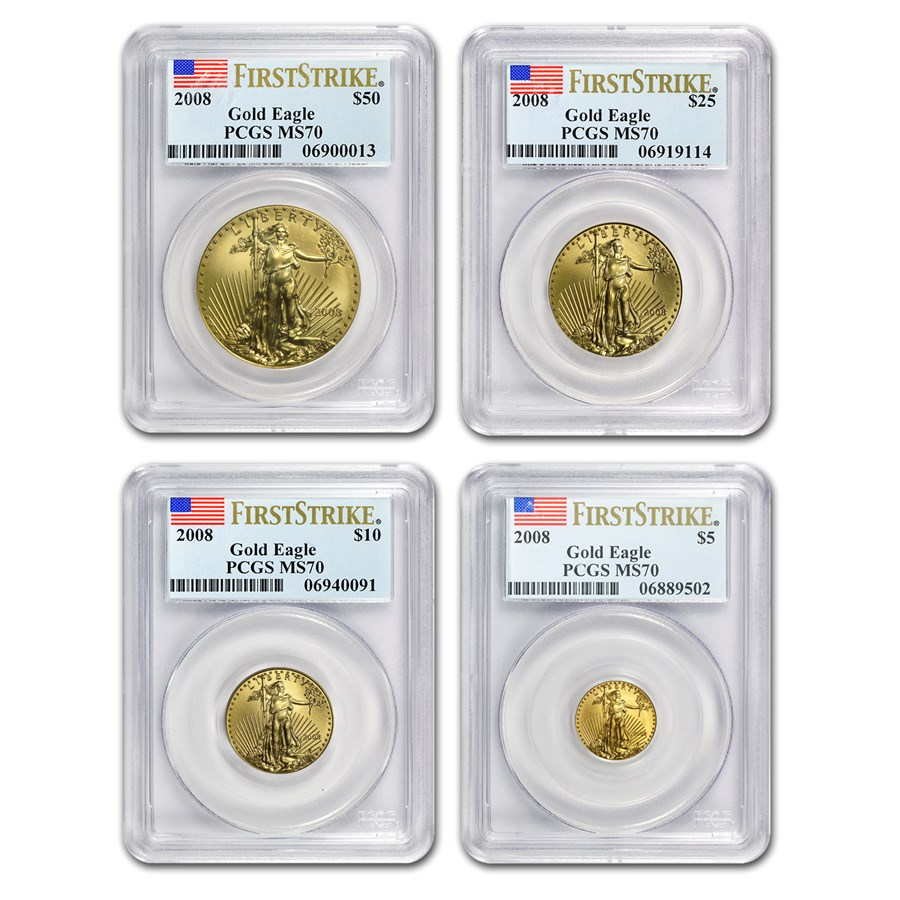 2008 4-Coin Gold American Eagle Set MS-70 PCGS (FirstStrike®)