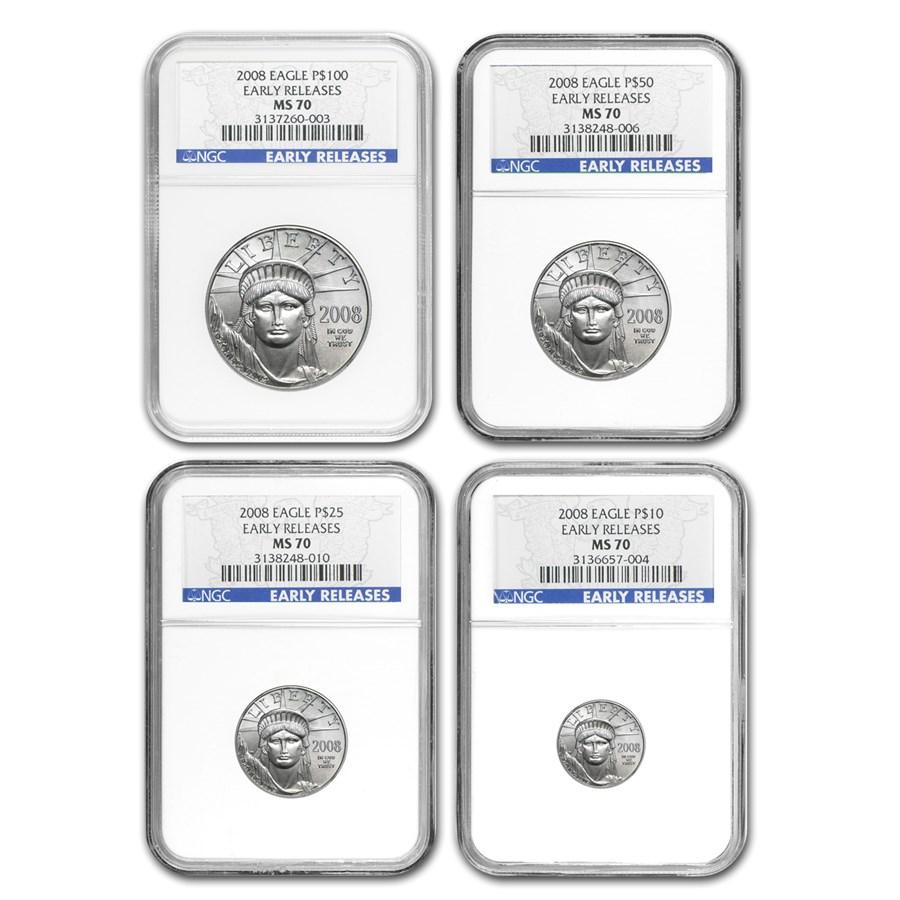 2008 4-Coin Platinum American Eagle Set MS-70 NGC (ER)
