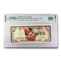 2008 $5.00 Disney Dollar Marching Band Mickey Gem CU-66 EPQ PMG